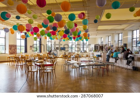 Antwerp, Belgium - May 11, 2015: Family visit Hetpaleis in Steen Castle (Het steen) on May 11, 2015. Hetpaleis is a theatre for children, young people and performing artists in Antwerp, Belgium.