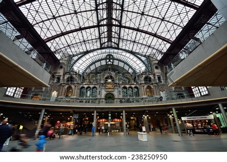 ANTWERP, BELGIUM - November 16, 2014: Antwerpen-Centraal or Antwerp Central is the main railway station in the Belgian city of Antwerp. The station is operated by the national railway company NMBS.