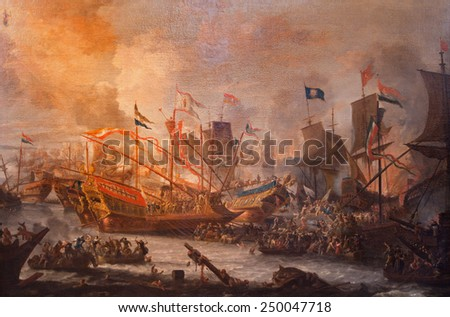 ANTWERP, BELGIUM - SEPTEMBER 5, 2013: The paint of Battle of Lepanto from 7. 10. 1571 by unknown painter in Saint Pauls church (Paulskerk). - stock photo