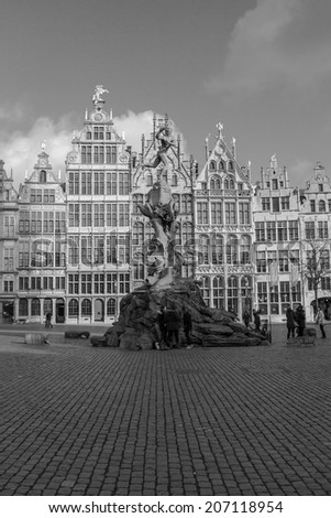ANTWERP, BELGIUM - 15th of February 2014: Old houses in old town of ANTWERP, BELGIUM on 15th of February 2014 (black and white) - stock photo