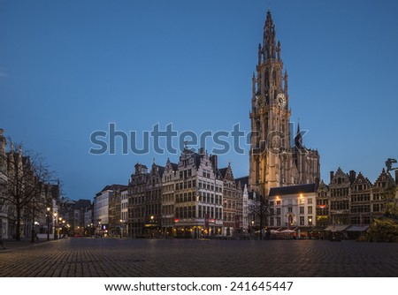 ANTWERP, FLANDERS, BELGIUM - November 13th 2014 Blue Hour view of the Cathedral of Our Lady in Antwerp