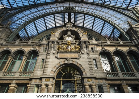 ANTWERP, FLANDERS, BELGIUM - November 13th 2014 - The Interior of Antwerp Central Station - stock photo