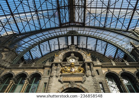 ANTWERP, FLANDERS, BELGIUM - November 13th 2014 - The Interior of Antwerp Central Station - stock photo