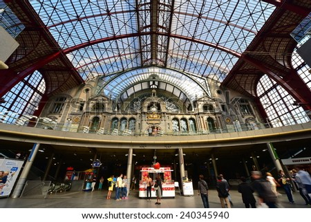 ANTWERP - SEPTEMBER 17: Antwerp Central Railway Station, operated by the national railway company NMBS, taken on September 17, 2014 in Antwerp, Belgium