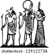 Anubis and Horus Egyptian hieroglyph in woodcut style. - stock vector