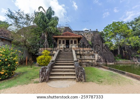 ANURADHAPURA, SRI LANKA - JAN 11, 2015: Isurumuniya is a Buddhist temple situated near to the Tisawewa (Tisa tank). There are four carvings of special interest in this Viharaya.