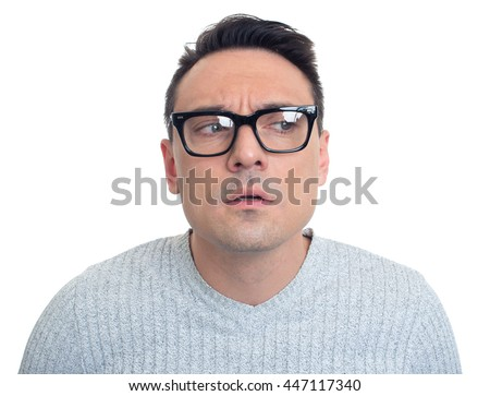 anxiety man looking away. Isolated on white background - stock photo