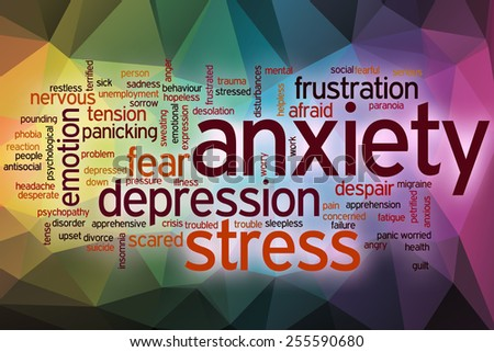Anxiety word cloud concept with abstract background - stock photo