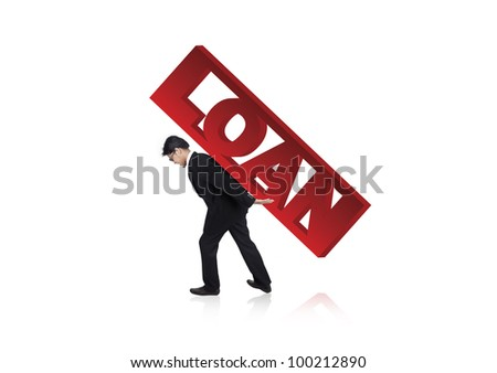 Anxious businessman carrying loan sign on his back. Can be used as business concept of heavy loan - stock photo