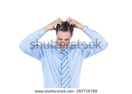 Anxious white hair businessman against a white screen - stock photo