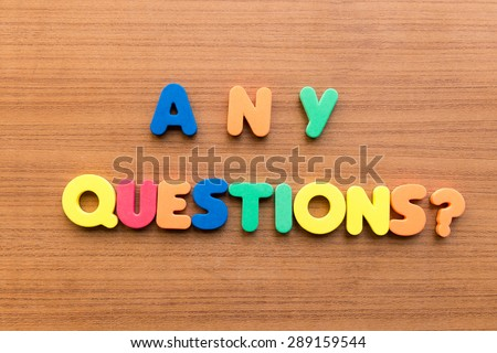 any questions  colorful words on the wooden background - stock photo