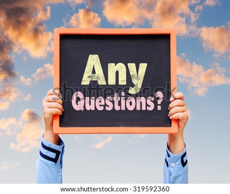 Any questions ? on blackboard. - stock photo
