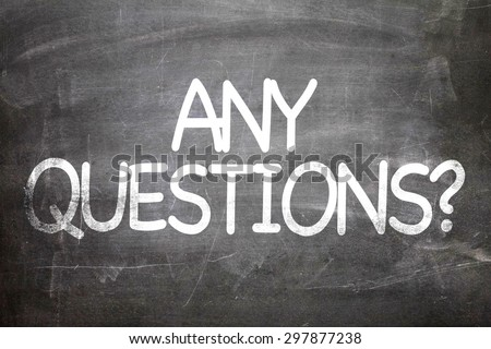 Any Questions? written on a chalkboard - stock photo