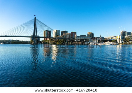 ANZAC bridge and CBD view of Sydney as viewed from Blackwattle bay. Office, commercial and residential skyscraper buildings - stock photo