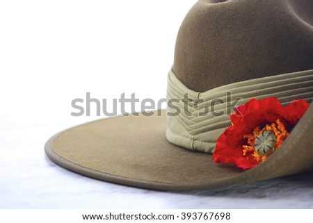 ANZAC Day, April 25, army slouch hat on white marble table with copy space.  - stock photo