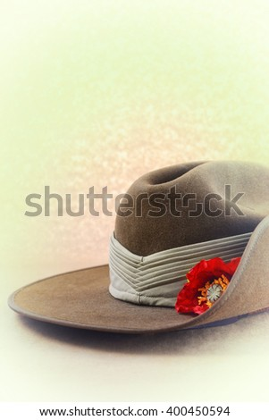 ANZAC Day, April 25, Australian army slouch hat with applied faded retro vintage style filters.  - stock photo