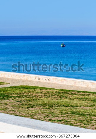 Anzac Military Cemetery in Gallipoli Peninsula,Canakkale , Turkey - stock photo