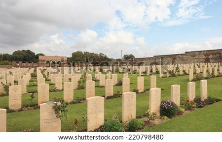 ANZIO, ITALY - SEPTEMBER 10, 2014: Anzio War Cemetery for allied military personnel who were killed in World War II. - stock photo