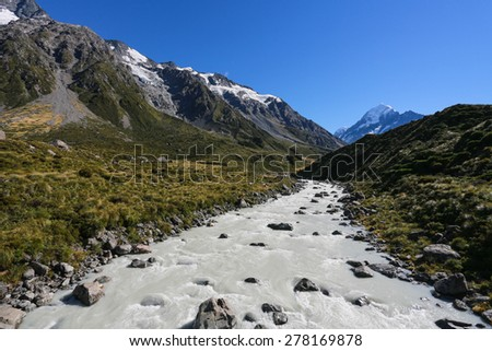 Aoraki Mount Cook ,Beautiful view during walk to glacier in Mount Cook National Park, South Island, New Zealand