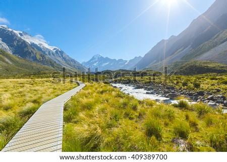 Aoraki Mount Cook National Park, New Zealand - stock photo