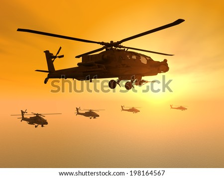 Apache Helicopters at Sunset Computer generated 3D illustration