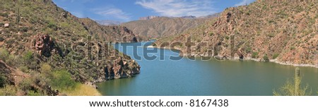 Apache Lake in Sonoran Desert. - stock photo