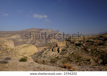 Apache Trail thru steep-sided Fish Creek Hill; Arizona in Winter. - stock photo