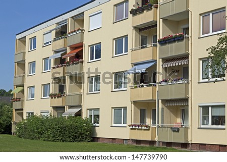 Aparment buildings in Kiel, Germany - stock photo