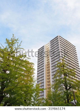 Apartment and blue sky - stock photo