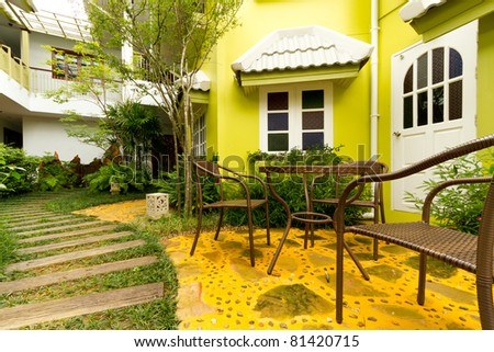 apartment and garden - stock photo