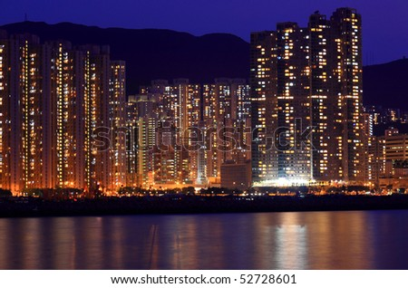 Apartment block at night in Hong Kong