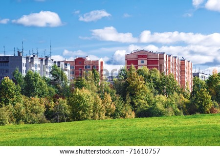 Apartment block in ecologically clean area - stock photo