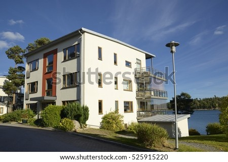 Apartment Block in summer, Nynashamn in Sweden.