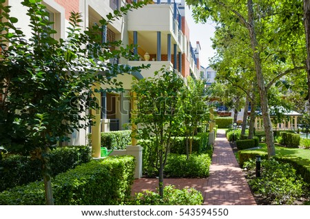 Apartment block, sunny, green, Sydney, Australia