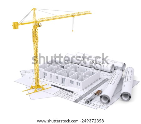 Apartment block under construction, crane, blueprints, drawing instruments. On white background