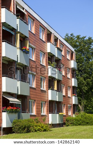 Apartment building, apartment exterior - stock photo