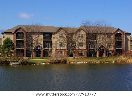 Apartment building complex with beautiful lake view