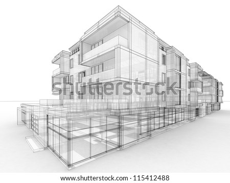 Apartment Building Design Drawing apartment building design concept architects computer stock