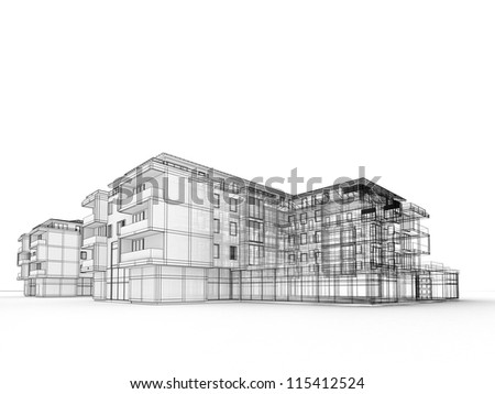 abstract sketch design building stock illustration 186851774