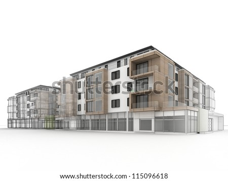 Architectural drawing stock photos images pictures for Apartment building drawing