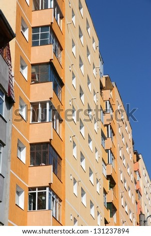 Apartment building from communism period in Sibiu, Romania. Average condominium. - stock photo