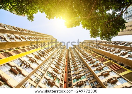 Apartment building. Hong Kong. China. Sea coast.