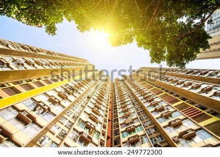Apartment building. Hong Kong. China. Sea coast. - stock photo