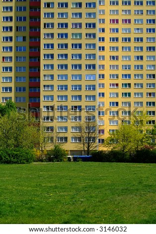 apartment building in East-Berlin - stock photo