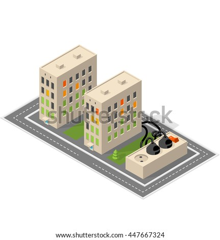 Apartment building. Isometric building. - stock photo