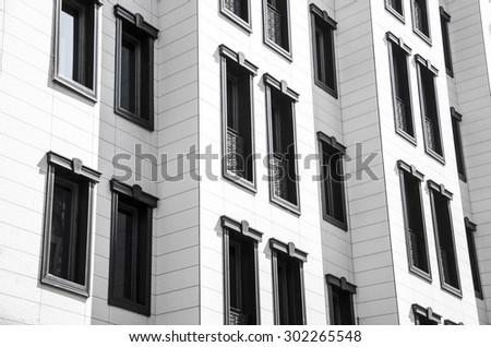 Apartment building.Multistori ed modern and stylish living block of flats. New house. - stock photo
