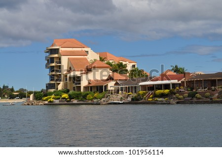 Apartment building on the lake. House. Australian house - stock photo