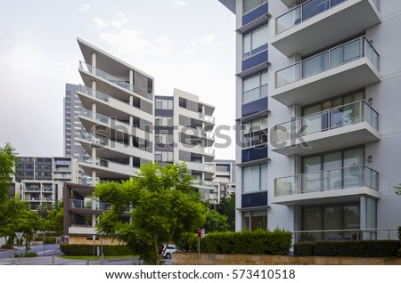 Apartment buildings at Rhodes in Sydney, Australia. Apartment blocks in the  modern suburb of