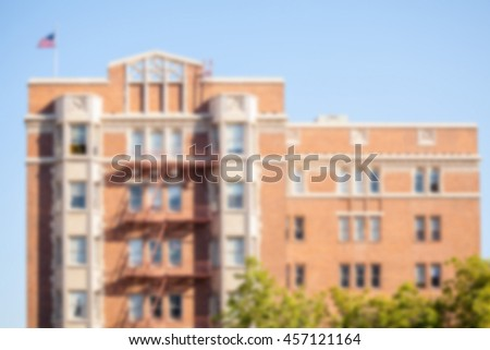 Apartment buildings in America eith blur applied to image.