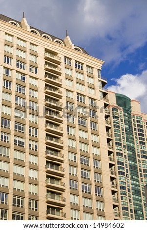 Apartment buildings in Chicago, IL. - stock photo